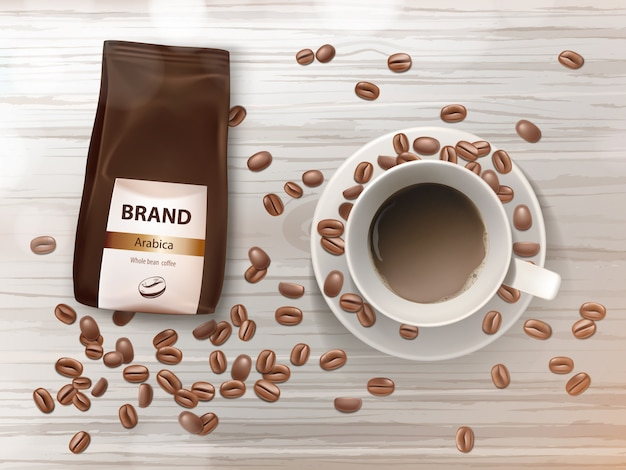 Promotiebanner met koffiekopje op schotel, bruine bonen en foliepakket met arabicakorrels.