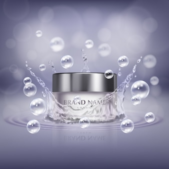 Promotiebanner met realistische glazen pot cosmetisch product, fles handcrème of gezichtsbehandeling