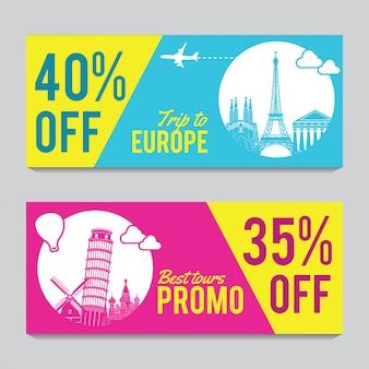 Promotiebanner voor reizen in europa