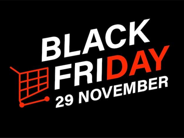 Promotiebanner voor zwarte vrijdagverkoop 29 november. herfstkortingen en opruimingen bij winkels en warenhuizen. voorstel van winkelcentra en winkelcentra. trolley en inscriptie. vector in vlakke stijl