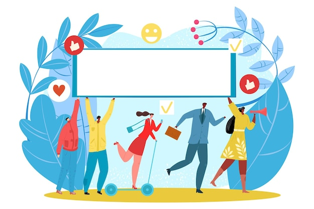 Promotieconcept, vectorillustratie. platte man vrouw mensen karakter gebruiken witte reclamebanner bij marketing. zakelijke creatieve advertentie online, sociale media pictogramtechnologie.