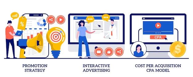 Promotiestrategie, interactieve reclame, cpa-modelconcept voor kosten per acquisitie met kleine mensen. marketing campagne planning, gerichte advertentie, kosten analyse abstracte vector illustratie set.