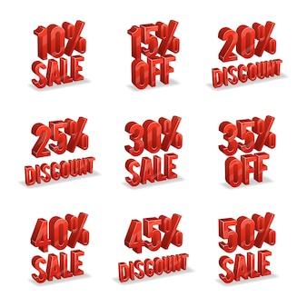 Promotionele korting borden met procent korting