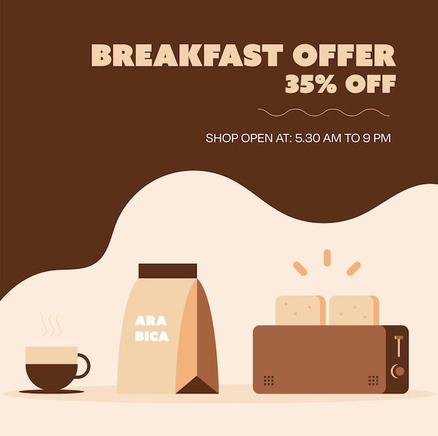 Promotionele mediapost voor speciale aanbieding in restaurant of café