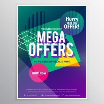Promotionele megaverkoop brochure flyer sjabloon met abstracte geometrische kleurrijke vormen