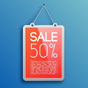 Promotionele verkoop ontwerpconcept met reclameframe spijker op blauw hangen