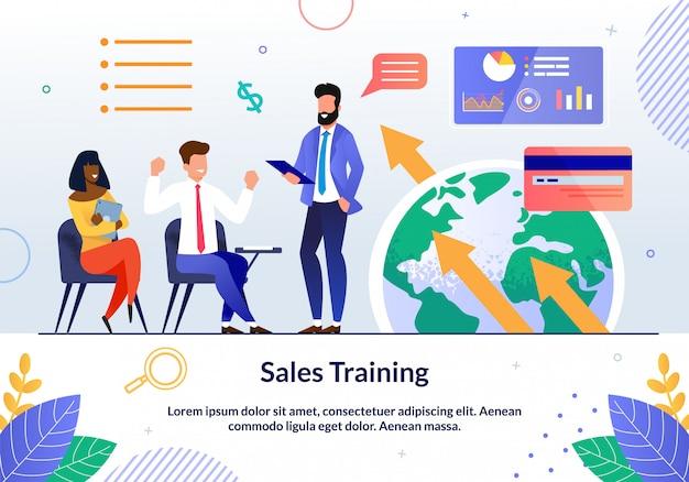 Prompt flyer inscriptie verkoop training cartoon.