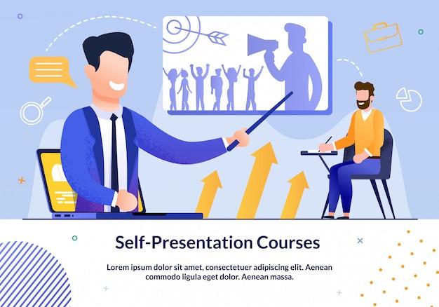 Prompt poster geschreven zelf-presentatie cursussen.