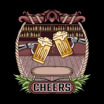 Proost bier vintage illustratie
