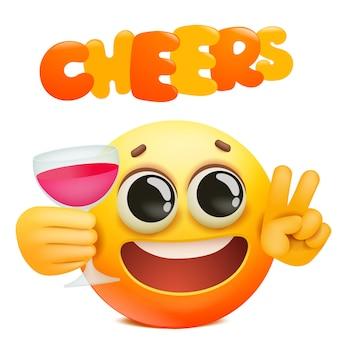 Proost emoticon kaart met gele emoji stripfiguur houden glas wijn