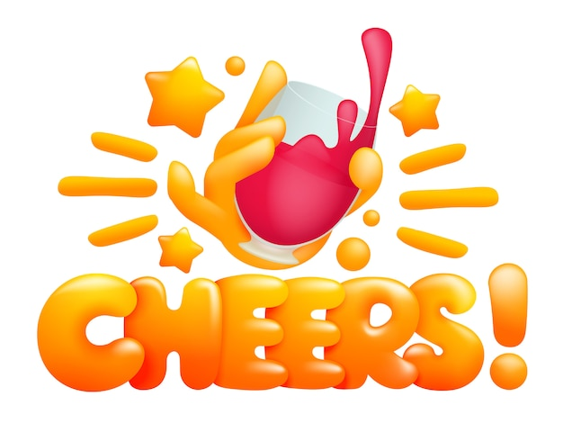 Proost icoon met gele emoji stripfiguur met glas wijn.