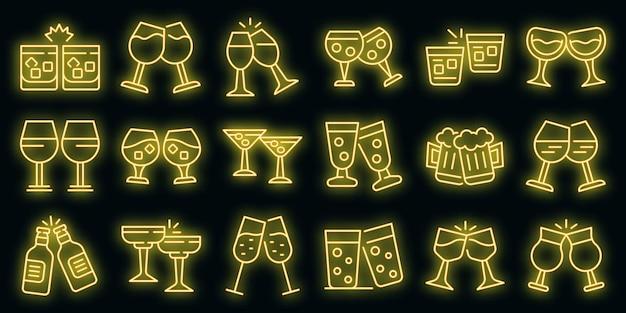 Proost pictogrammen instellen vector neon