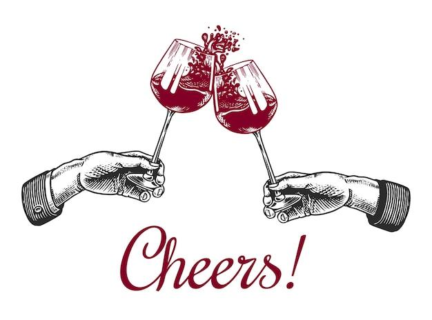 Proost toast en gerinkel van glazen wijn
