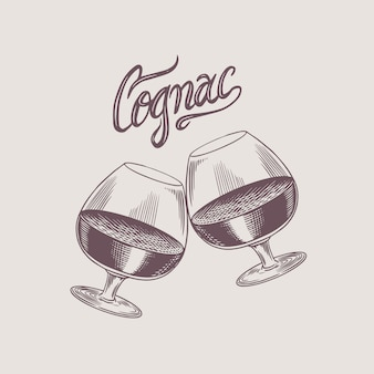 Proost toast. vintage amerikaanse cognac of sterke drank badge. alcoholisch label voor posterbanner. glas met sterke drank. handgetekende gegraveerde schets belettering voor t-shirt.
