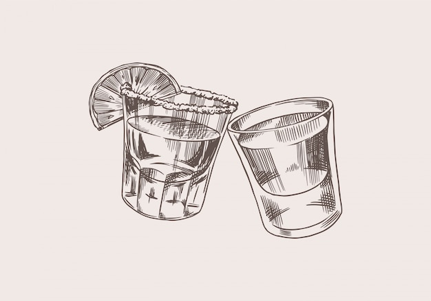 Proost toast. vintage mexicaanse tequila badge. glasschoten met sterke drank. alcoholisch label voor posterbanner. handgetekende gegraveerde schets belettering voor t-shirt.