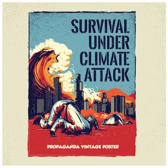 Propaganda vintage poster kunst met klimaataanval thema