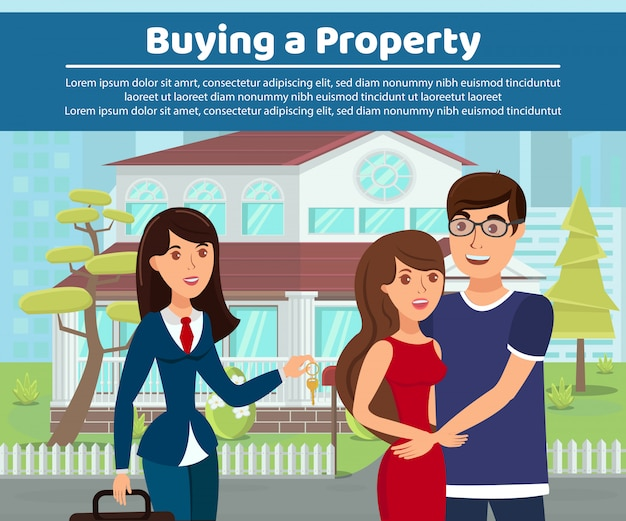 Property buying, makelaarskantoor webbannersjabloon