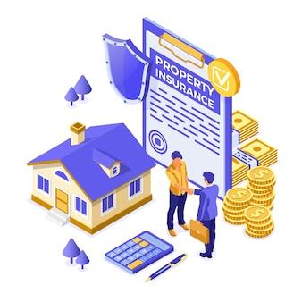 Propery house verzekering isometrische concept