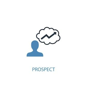 Prospect concept 2 gekleurd icoon. eenvoudige blauwe elementenillustratie. vooruitzicht symbool conceptontwerp. kan worden gebruikt voor web- en mobiele ui/ux