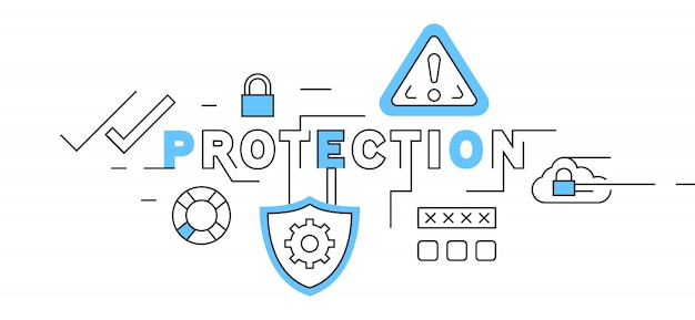 Protection flat line design in blue