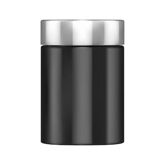 Proteïnefles mockup supplement poederpot blanco sportverpakking cilinder voeding blikje
