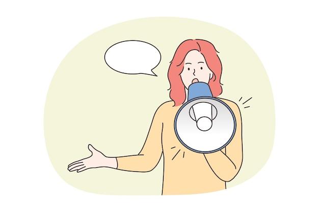 Protest, activisme, aankondiging, toespraak, promotie, aandachtsconcept. jonge vrouw protesteerder