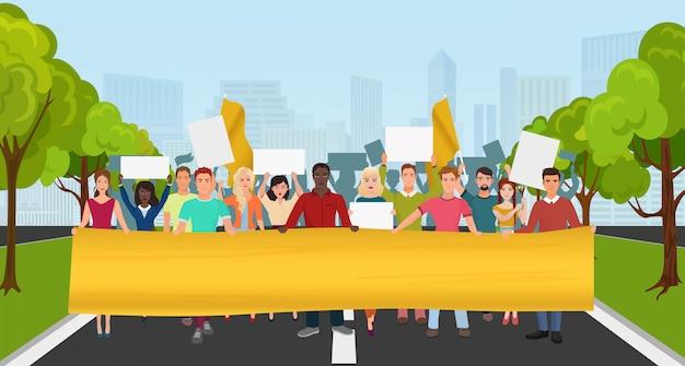 Protest mensen met een groot plakkaat bij demonstratie