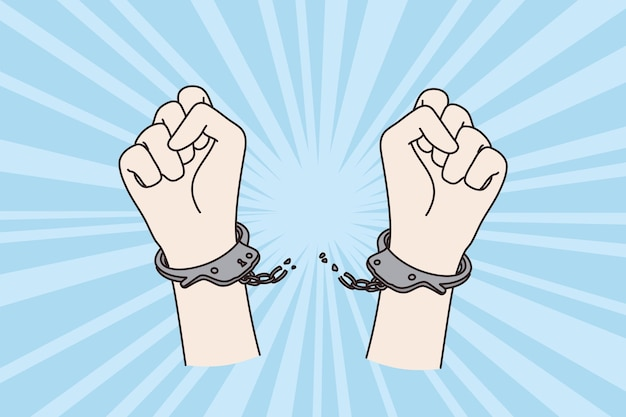 Protest, mensenrechten en boeien concept. menselijk opgeheven protest armen vuist brekende kettingen van boeien die hoge knokkels opheffen vectorillustratie