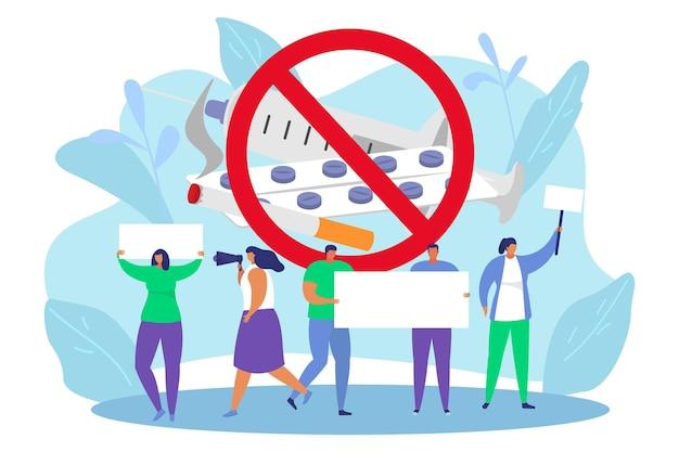 Protest om illegale drugs te stoppen, vectorillustratie. platte man vrouw karakter houdt lege banner in de hand, geen verdovend concept, misbruik gevaar ontwerp. waarschuwingsposter, doorstreep pillen, spuit, sigaret.