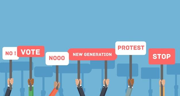 Protest, stemmen, demonstratie, concept. gebaren handen