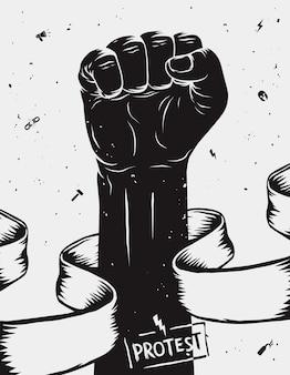 Protestaffiche, opgeheven vuist in protest gehouden