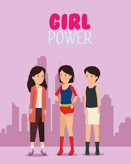 Protesteer girlin de stad met het bericht van de meisjesmacht