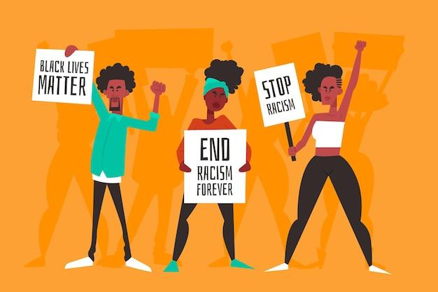Protesteren tegen racisme concept