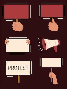 Protesterende handen en banner
