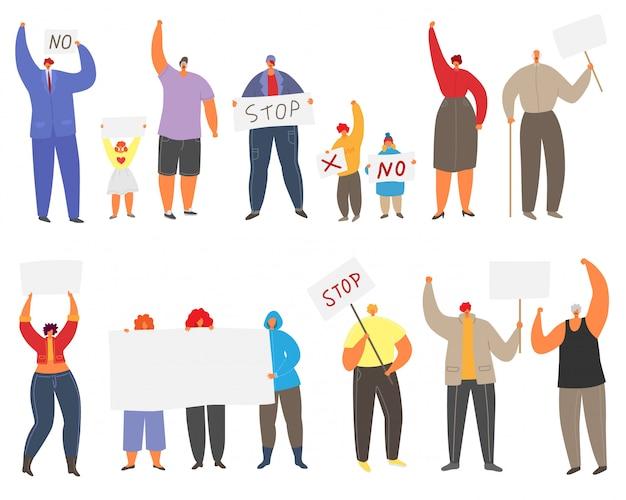 Protesterende hypertrofie mensen illustratie set, man, vrouw en kind in demonstratie protest