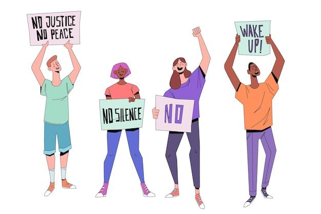 Protesterende mensen concept