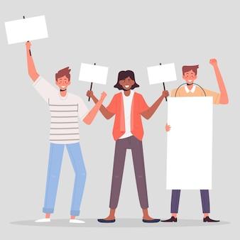 Protesterende mensen illustratie concept
