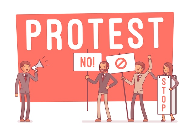 Protesterende mensen in staking