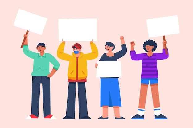 Protesterende mensen met borden illustratie