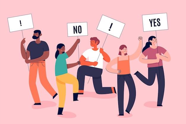 Protesterende mensen stoppen met racisme