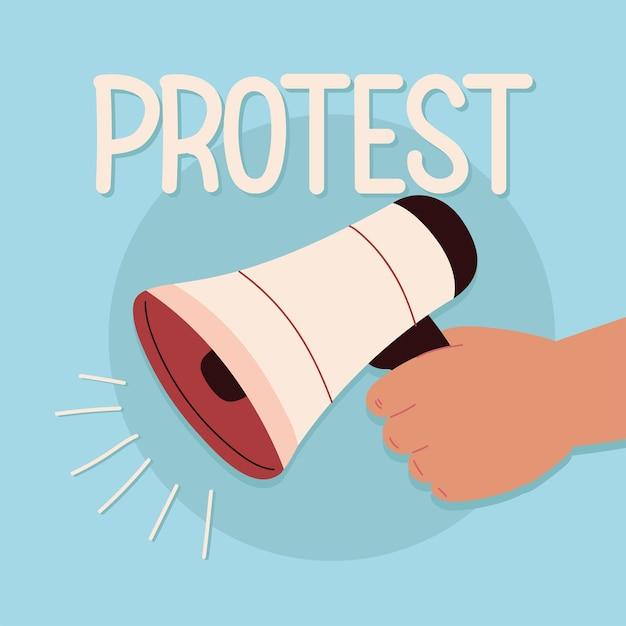 Protesthand met luidspreker