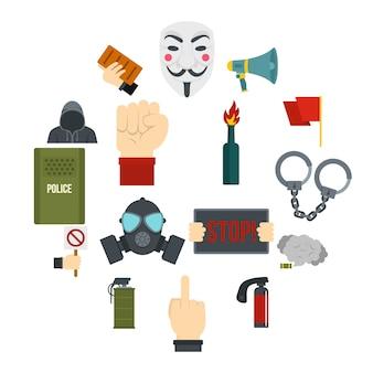 Protestpictogrammen in vlakke stijl worden geplaatst die