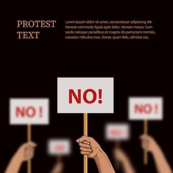 Protestsjabloon met plaats voor tekst. vector