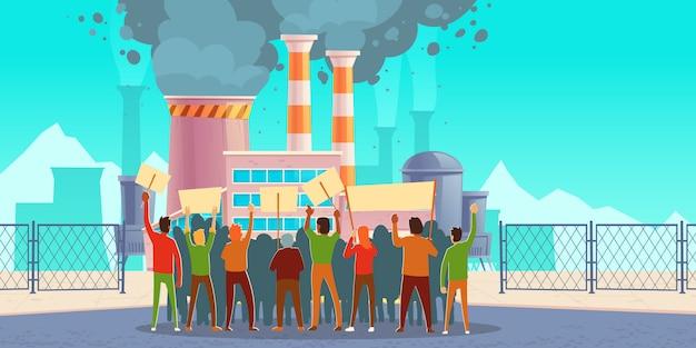 Proteststaking tegen luchtvervuiling, eco-piket