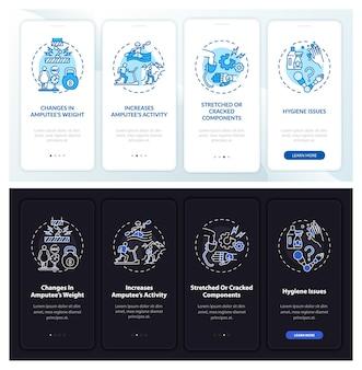 Prothese herstel onboarding mobiele app paginascherm met concepten