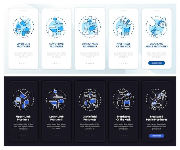Protheses soorten onboarding mobiele app paginascherm met concepten