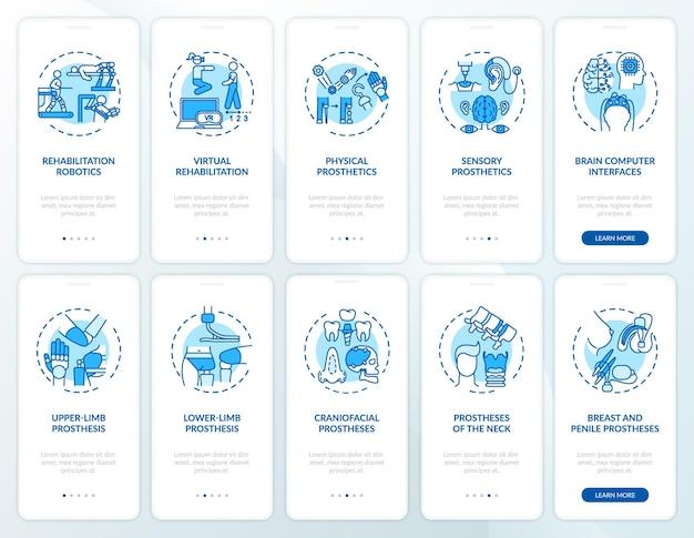 Prothetisch herstel onboarding mobiele app-paginascherm met ingestelde concepten. soorten kunstmatige ledematen doorlopen grafische instructies in 5 stappen.