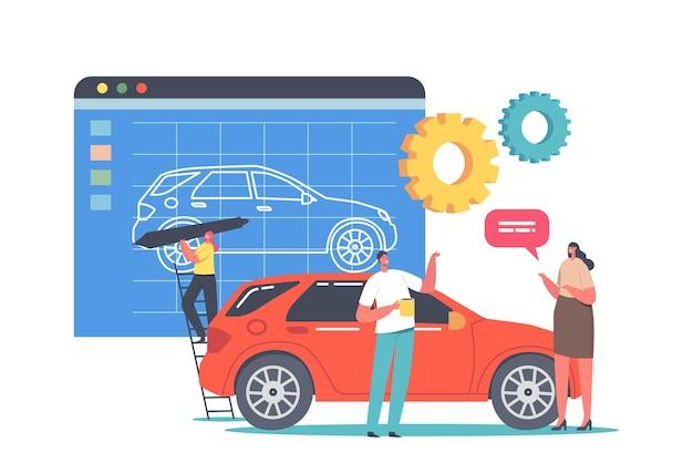 Prototypingproces voor auto's, creatie van transportprototypes. klein ontwerperkarakter dat enorm automodel in programma schildert. verkoper biedt nieuw model aan koper aan. cartoon mensen vectorillustratie