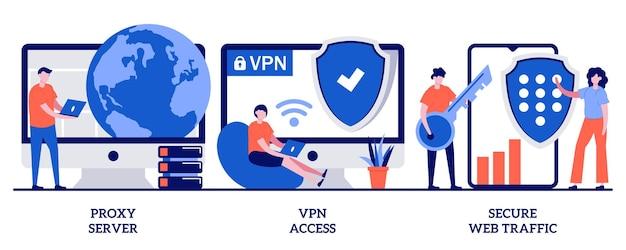 Proxyserver, vpn-toegang, beveiligd webverkeerconcept met kleine mensen. beveiligde netwerkverbinding en privacybescherming abstracte illustratie set. metafoor van internetprovider.