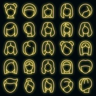 Pruik pictogrammen instellen. overzicht set pruik vector iconen neon kleur op zwart
